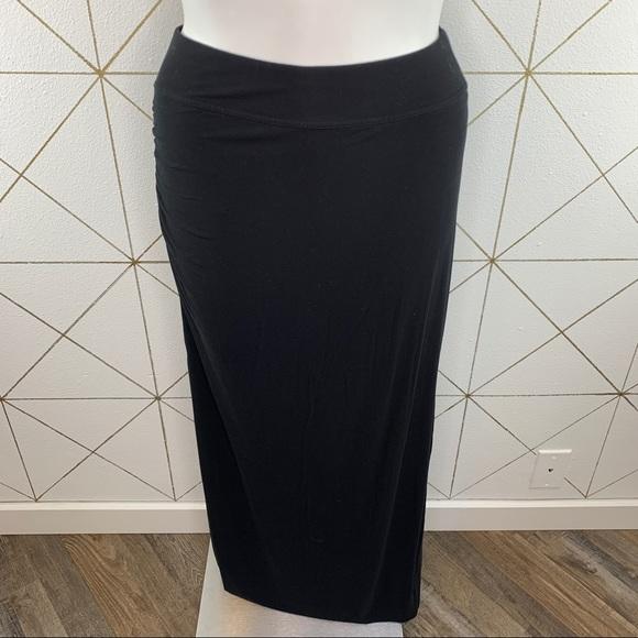 Athleta Serafina Black Ruched Maxi Skirt Medium